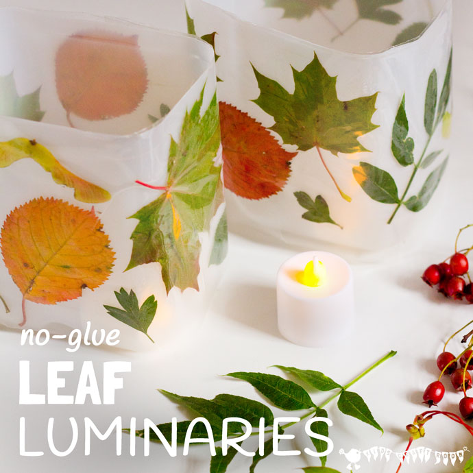 No glue leaf luminaries diy