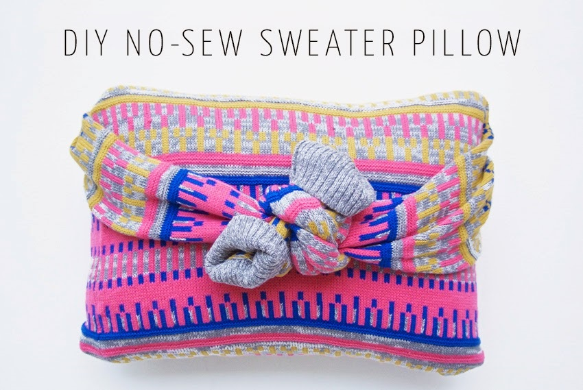No sew sweater pillow