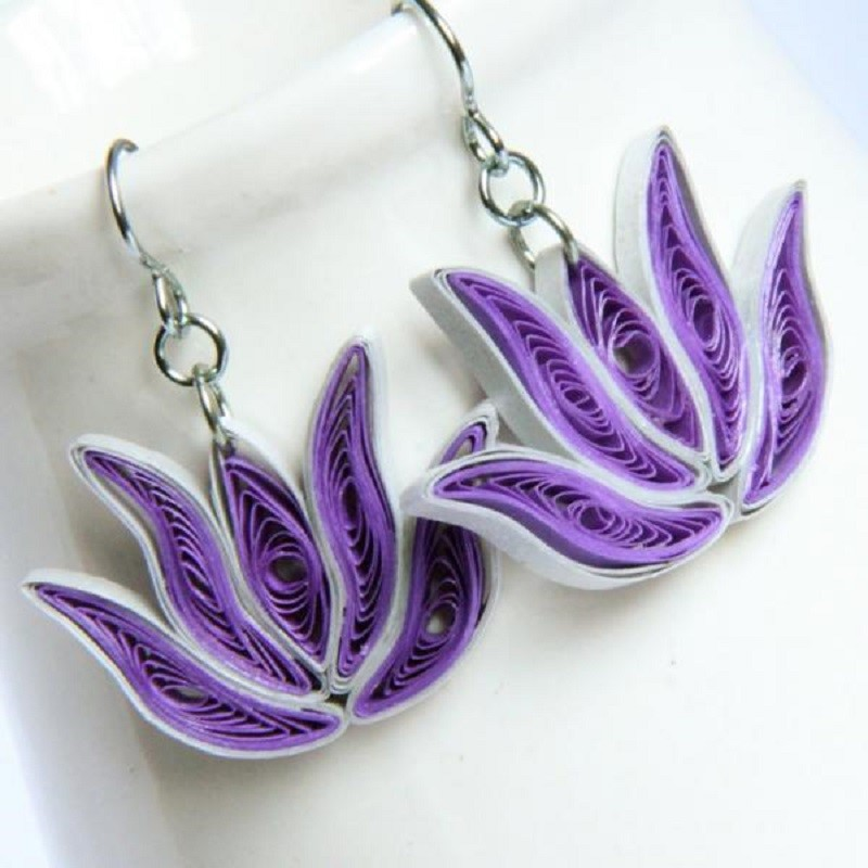 Paper quilled lotus earrings