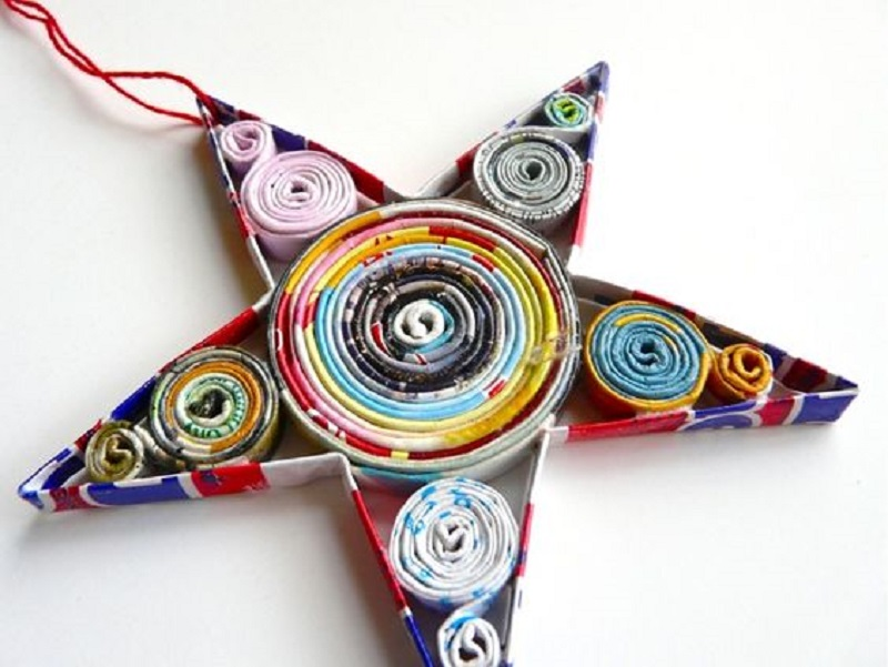 Paper quilled star ornaments