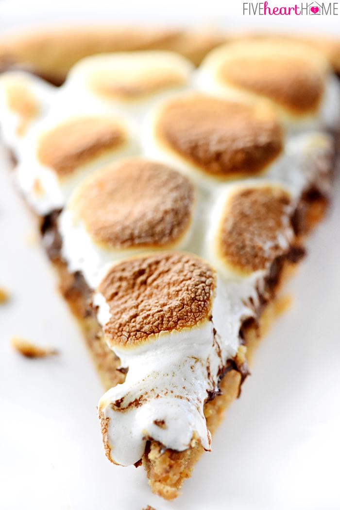 Peanut butter cookie smores dessert pizza