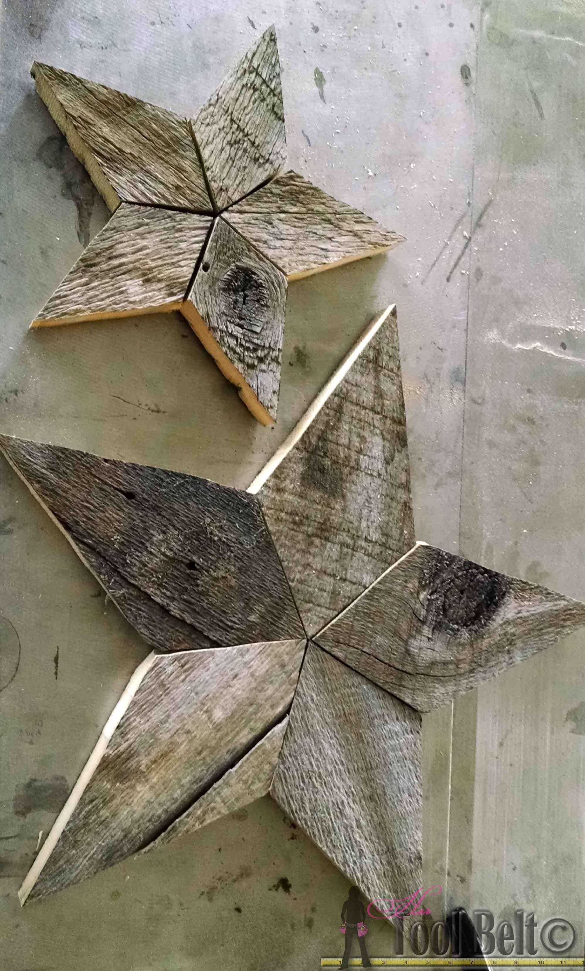 Pieced together wooden stars