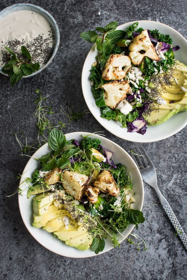 Roasted cauliflower detox bowl