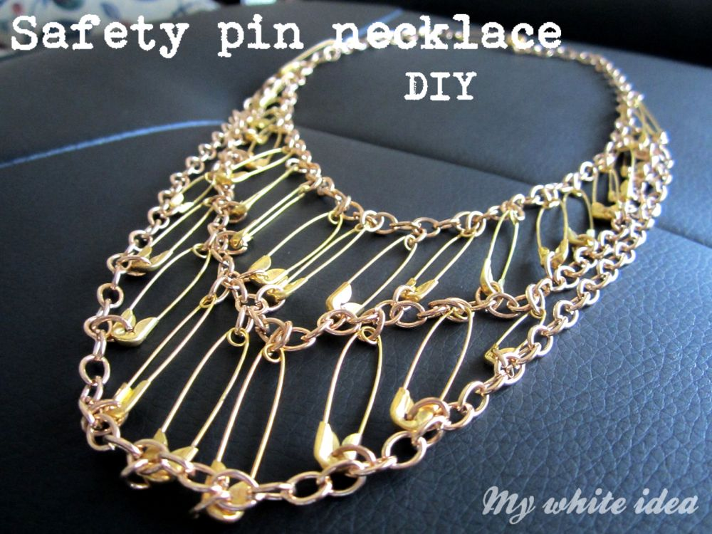 Safety pin bib necklace