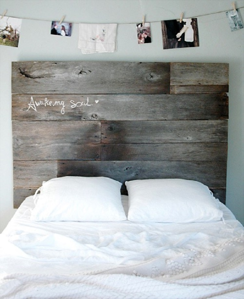 Salvaged barn wood headboard