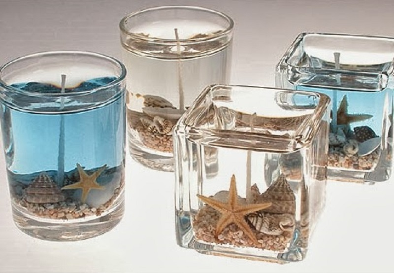 Sand and sea shell jelly candles
