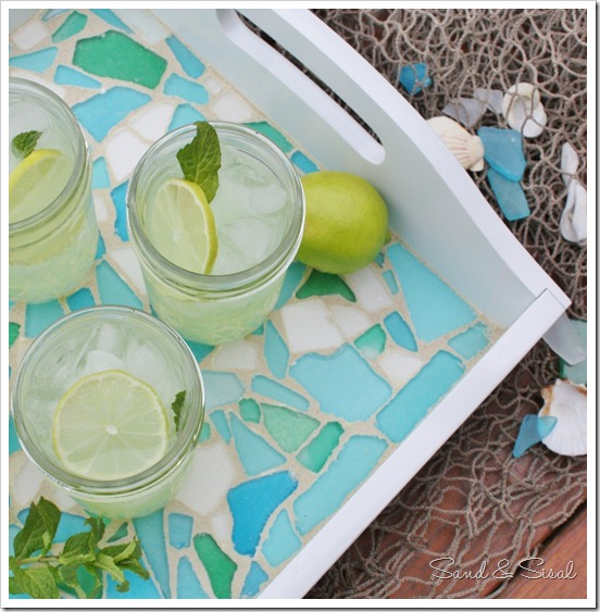 Sea glass mosaic tray diy
