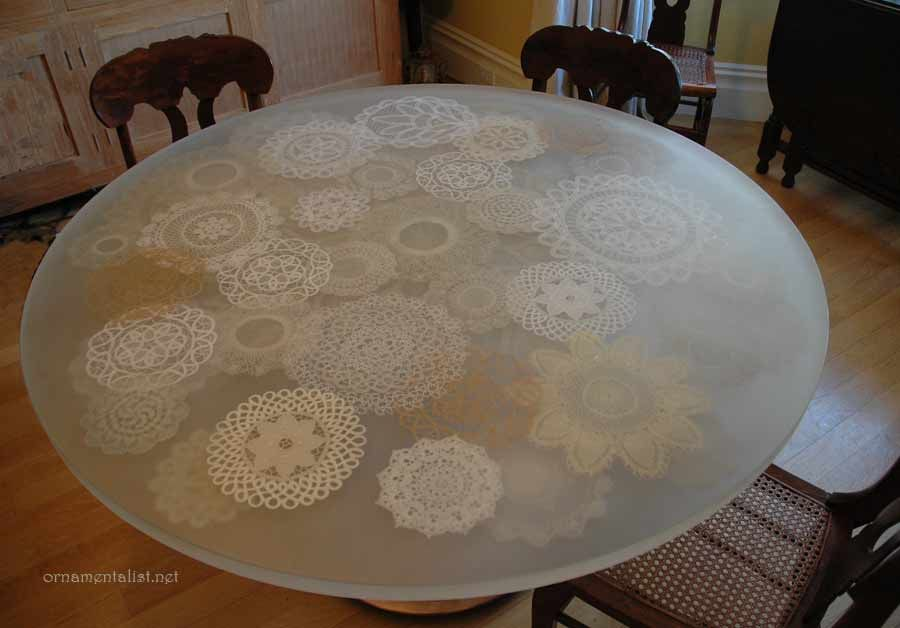Simple lace doily tabletop