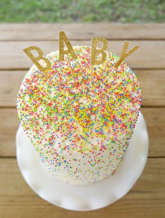 Sprinkle cake gender reveal diy