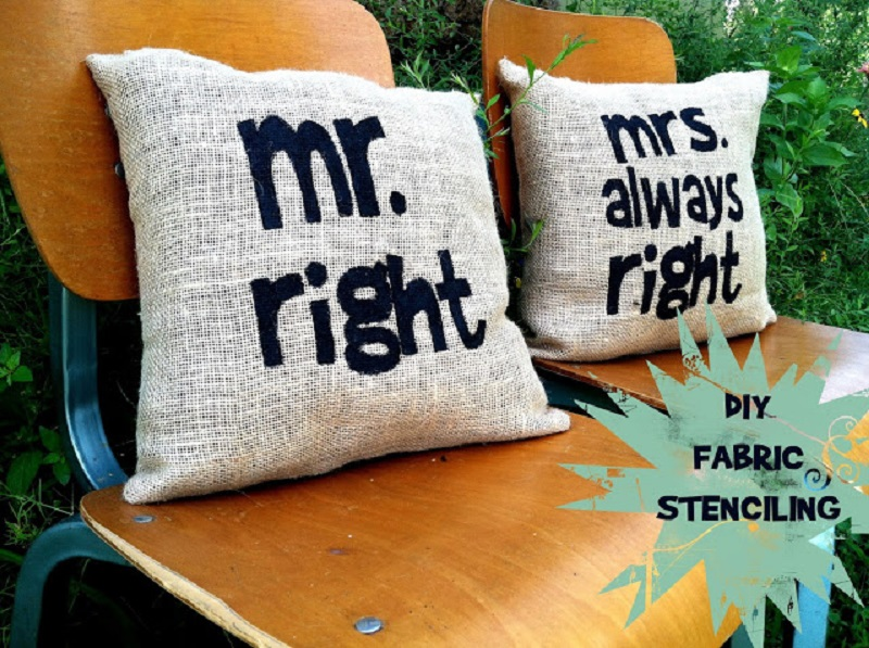 Stencilled wedding pillows