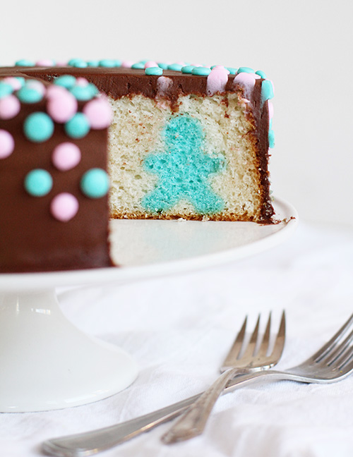 Surpise inside gender reveal cake diy