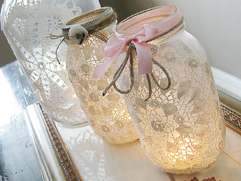 Vintage lace mason jar candles