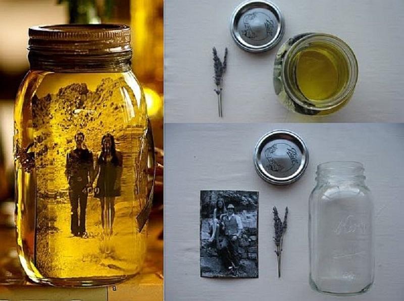 Vintage photo mason jar