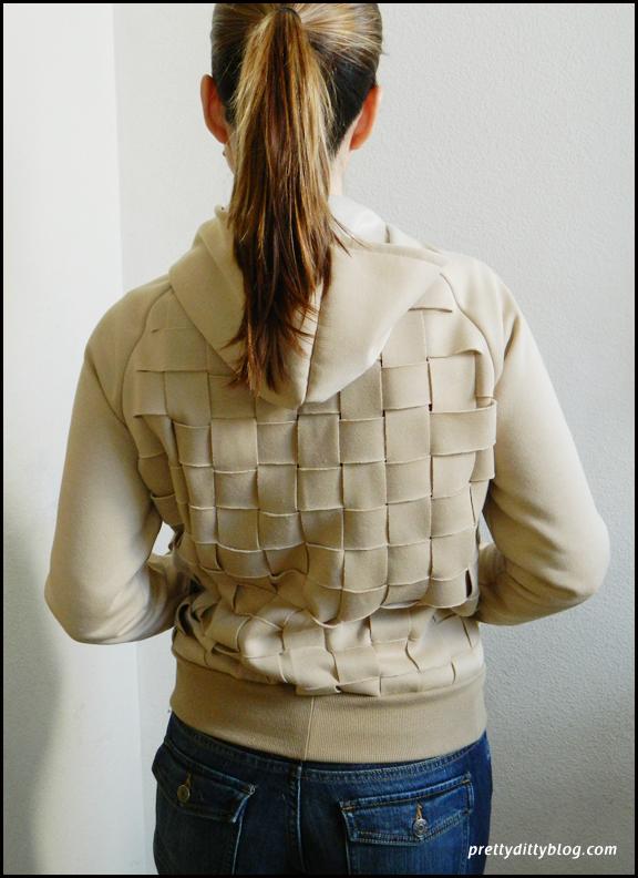 Woven back hoodie