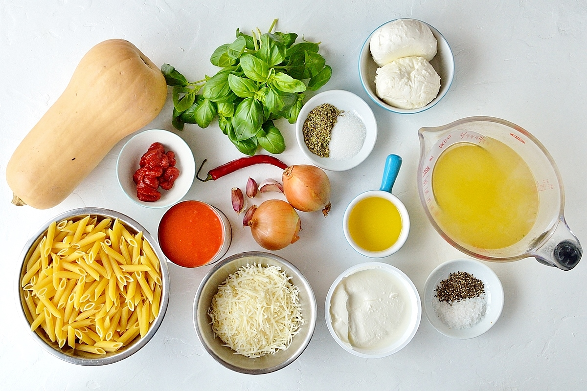 Butternut squash and ricotta pasta bake ingredients