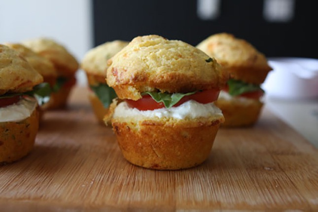 Caprese corn muffin sandwiches