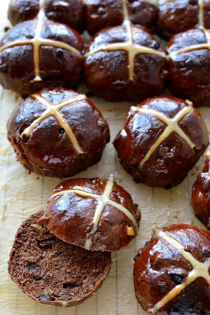Chocolate and orange hot cross buns
