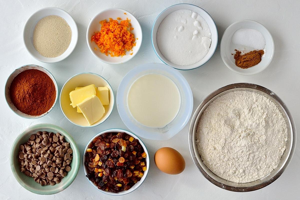 Chocolate orange hot cross buns ingredients