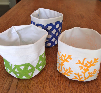 Diy block print canvas containers