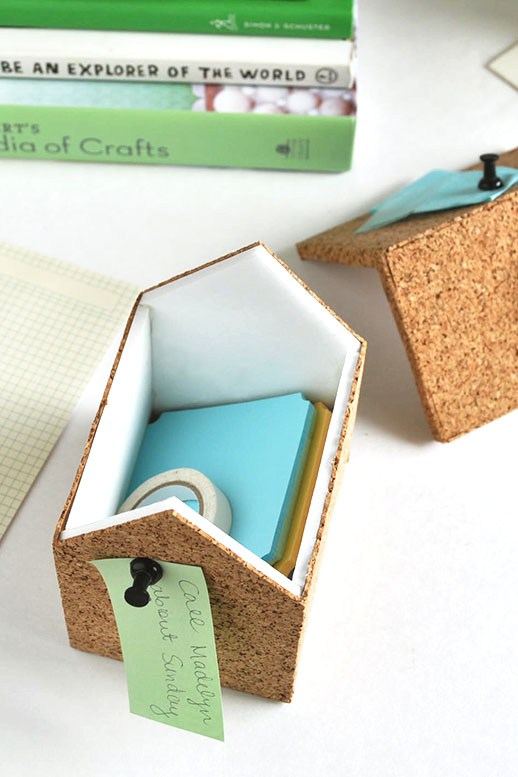Diy cork storage boxes