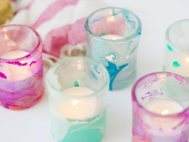Diy marbled candle votives