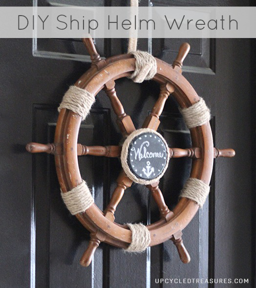 Diy nautical ship helm wreath upcycledtreasures