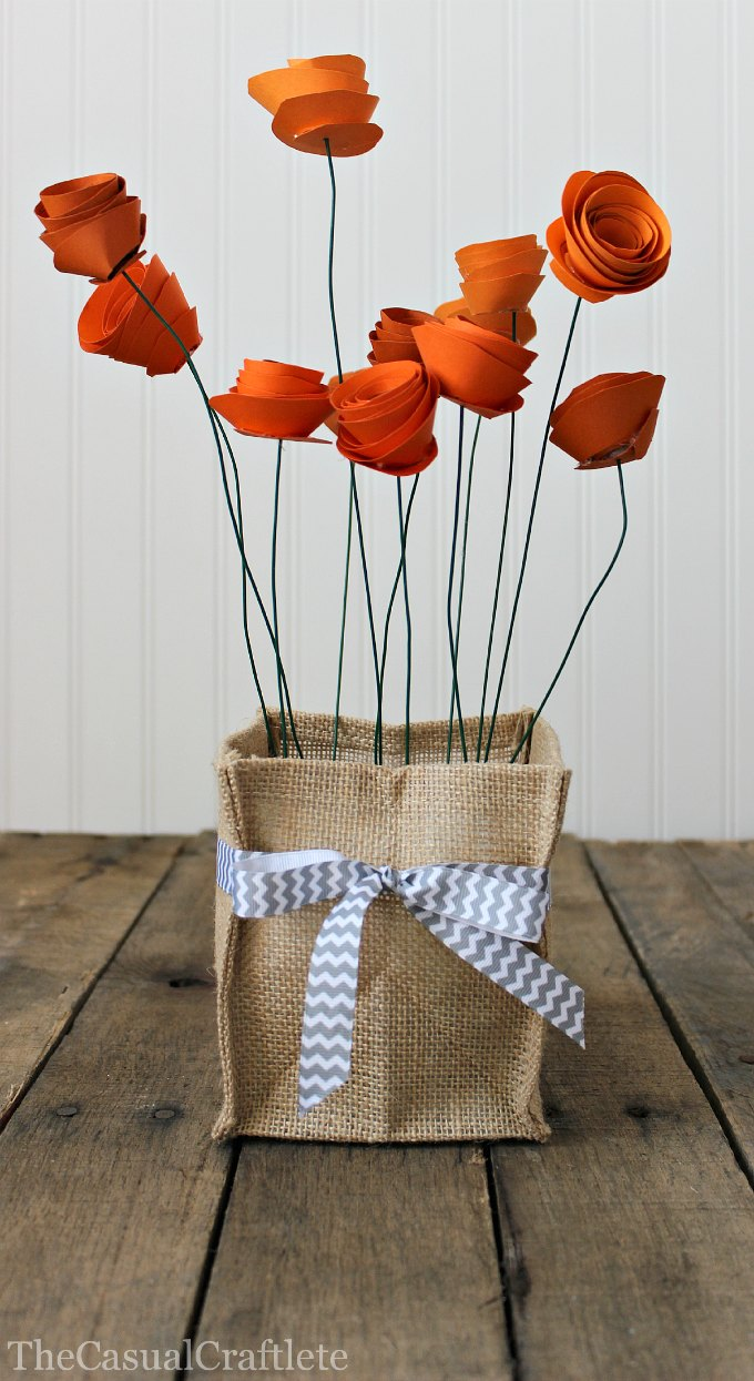 Diy orange paper flower centerpiece