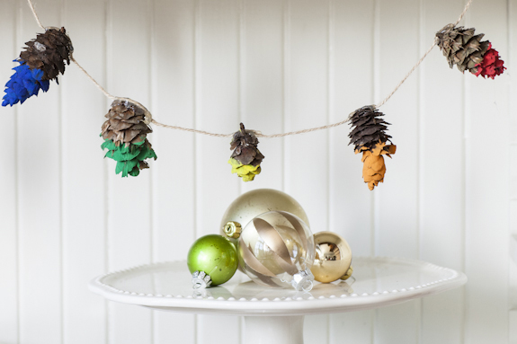 Diy paint dipped pine cone garland