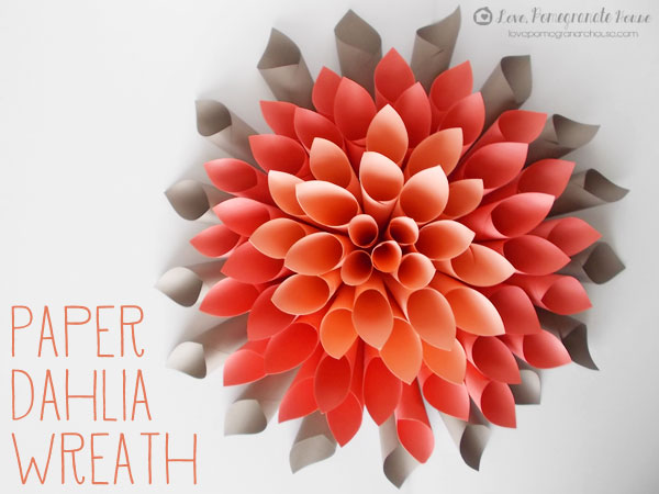 Diy paper dahlia wreath