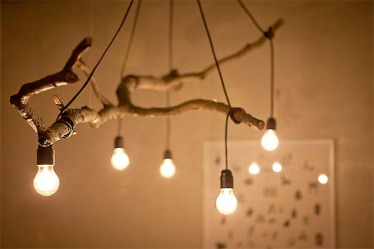 Diy tree branch light fixture