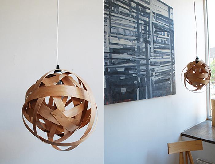 Diy woven veneer lamp