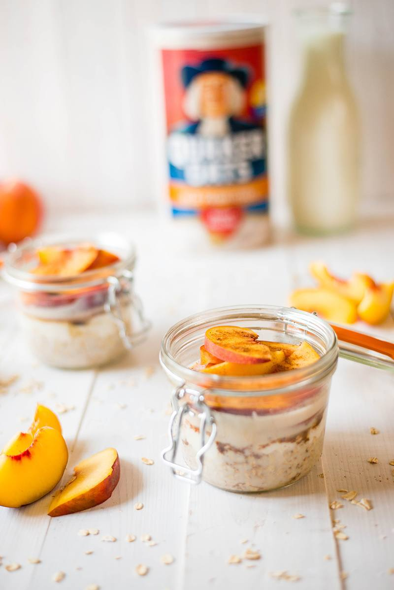 Fresh peach cobbler overnight oats
