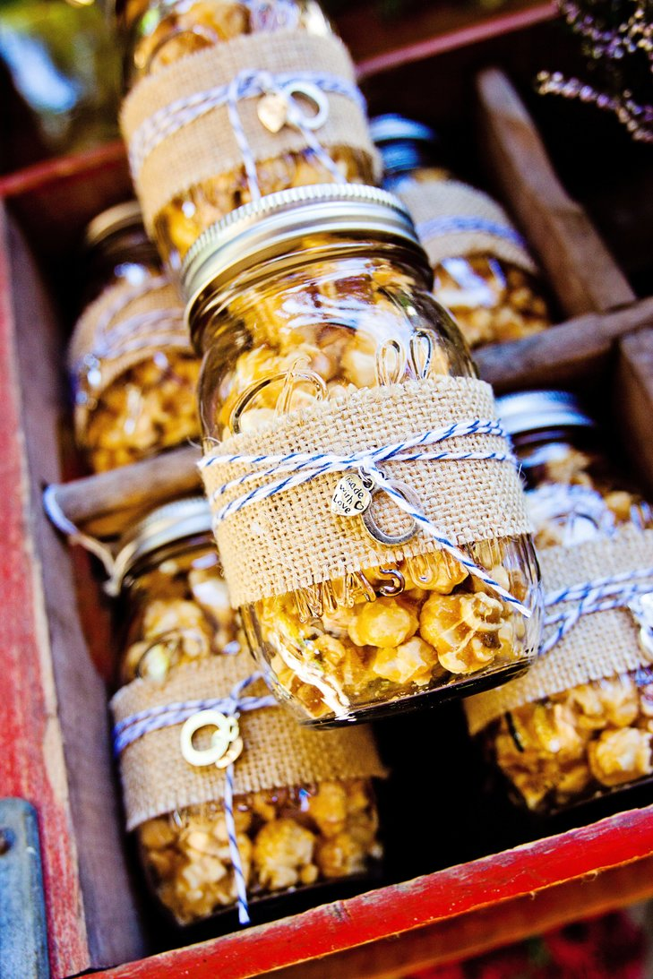 Homemade caramel corn favors