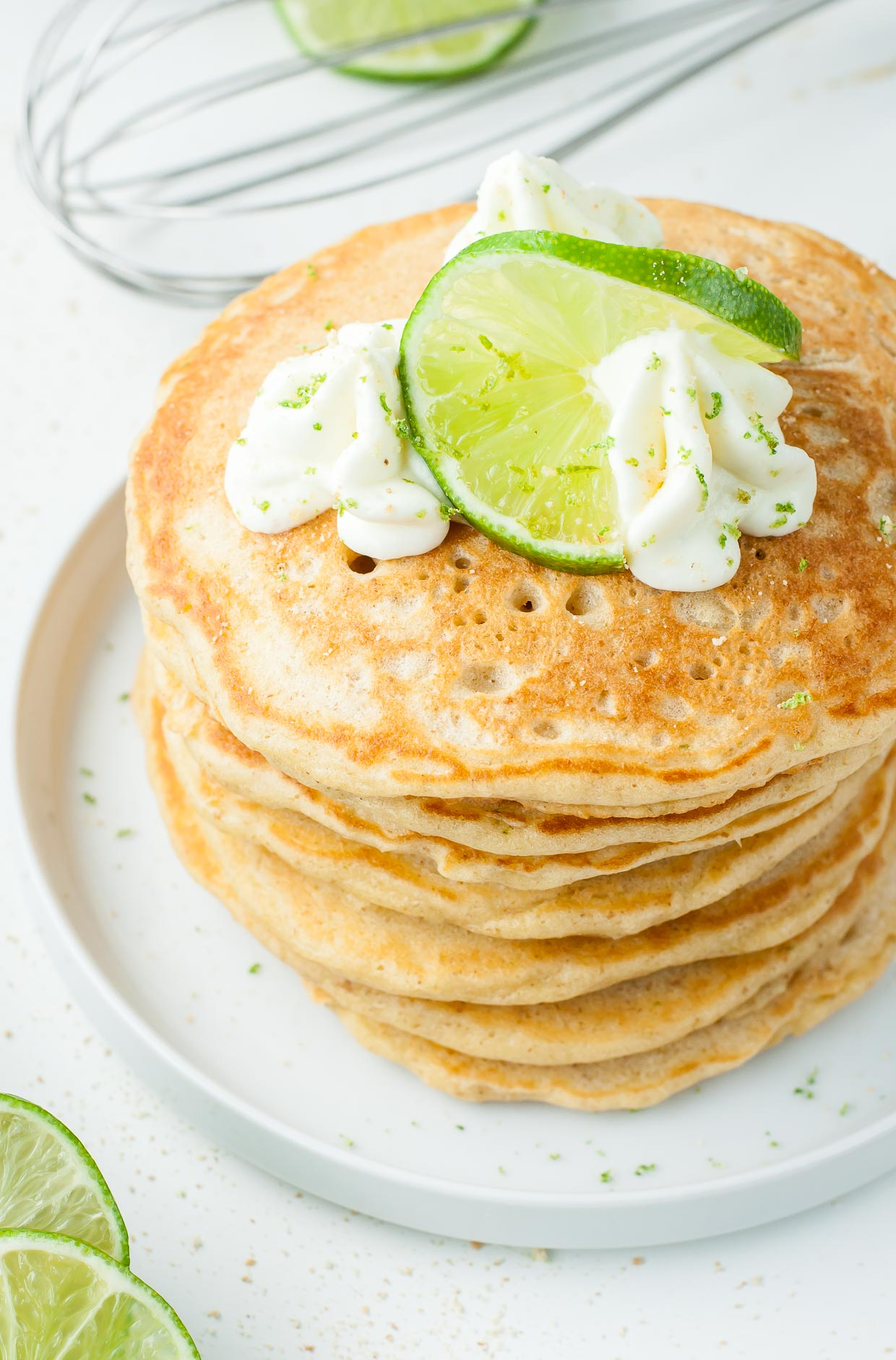 Homemade fluffy key lime pie pancakes recipe