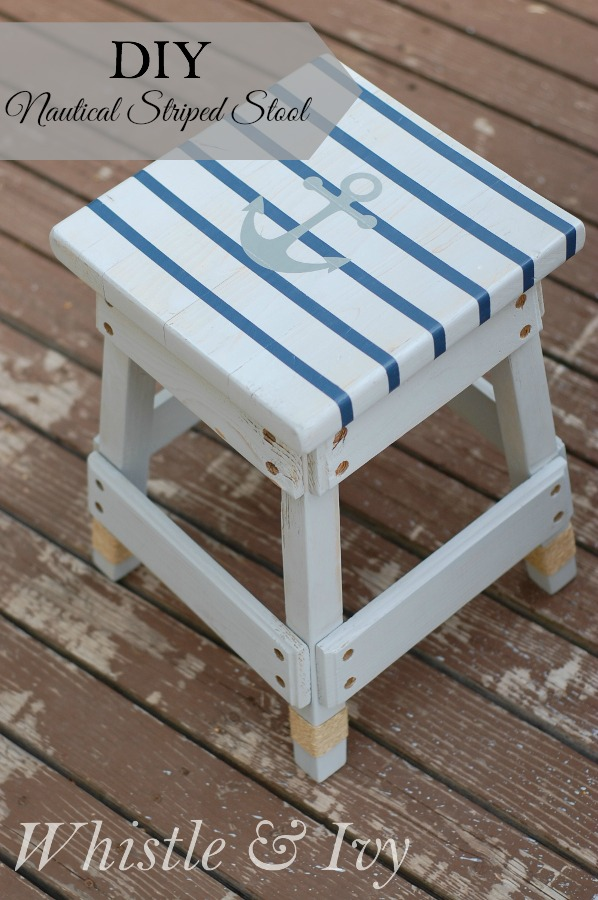 Nautical striped stool diy