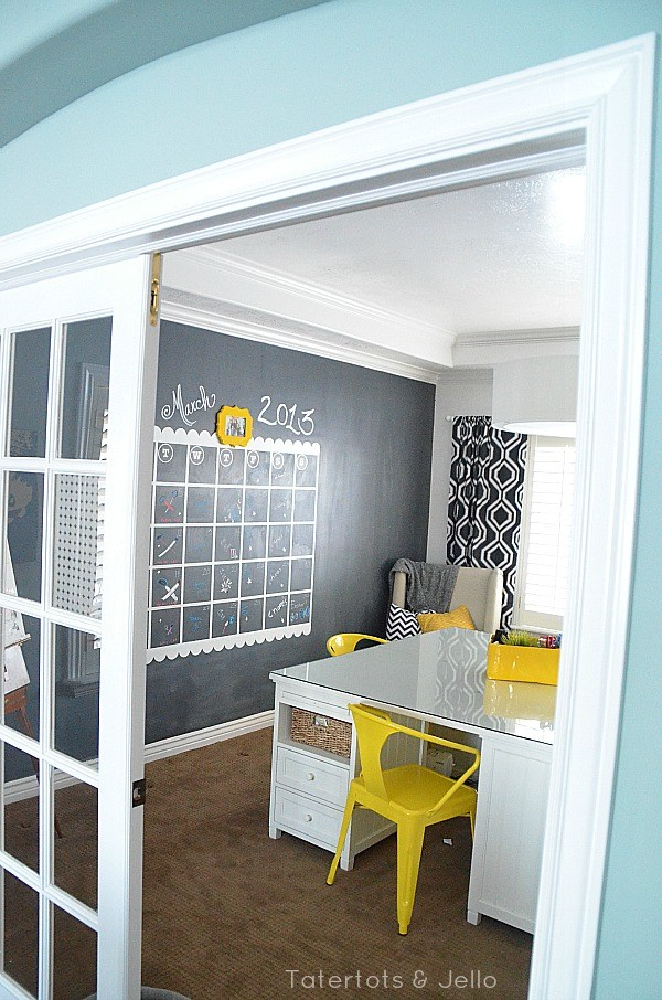 Navy chalkboard calendar office diy