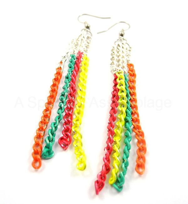 Neon chain earrings diy