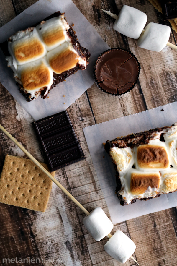 Peanut butter cup stuffed smores brownies