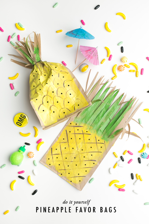 Pineapple favor bags diy