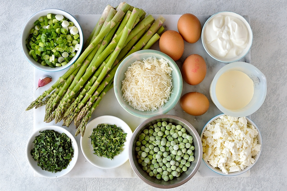 Spring vegetable and feta cheese tart filling ingredients