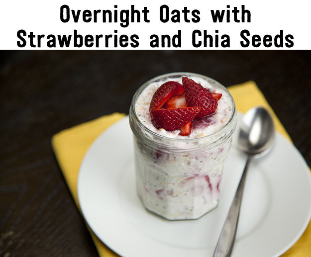 Strawberries and chia seeds overnight oats