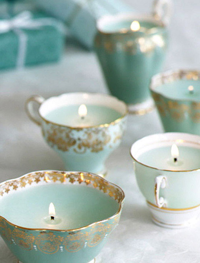 Vintage teacup candles diy