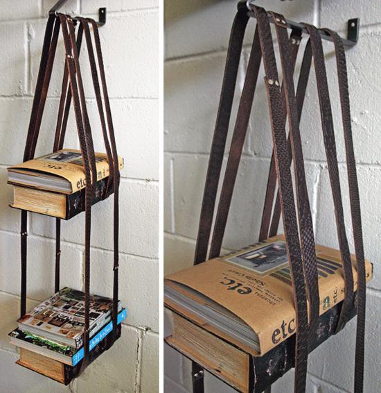 Adjustable leather belt bookshelf