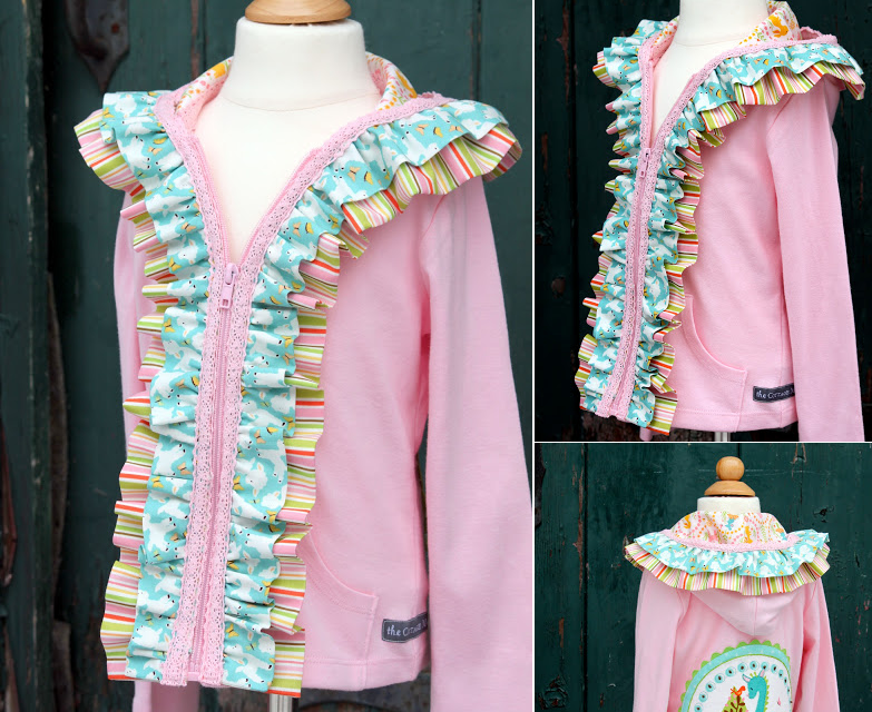 Applique and ruffle embellished hoodie