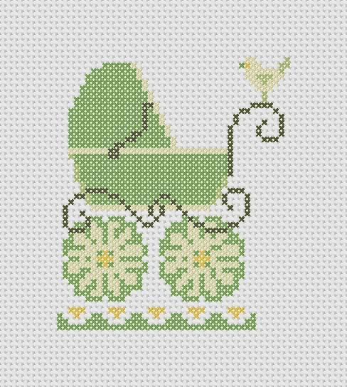 Baby carriage and birdie pattern