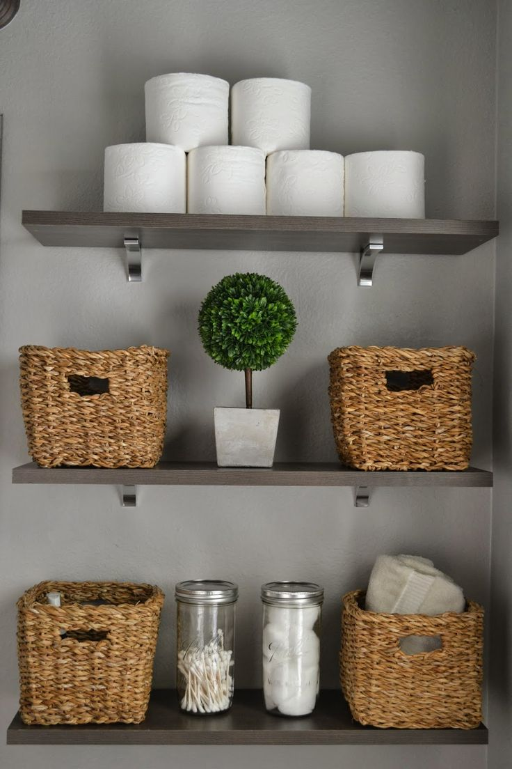 Bathroom wicker basket on shelf