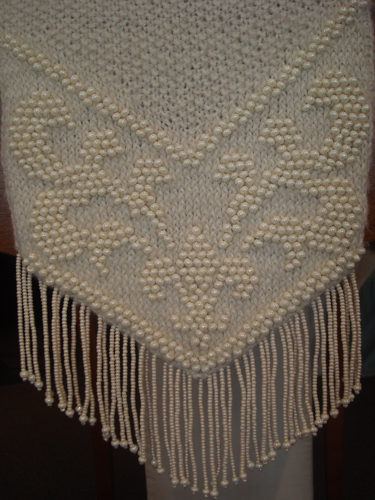 Beaded knitted scarf