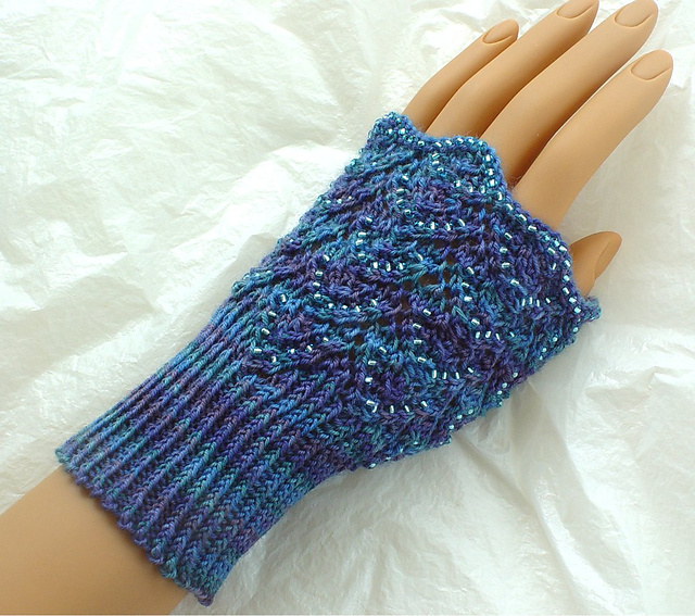 Beaded offset chevrons hand warmers