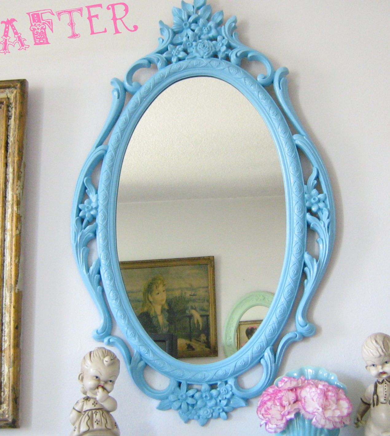 Blue frame mirror