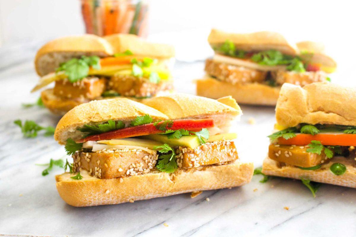 Bread tofu banh mi sandwiches